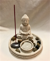 MEDITATION BUDDHA CANDLE & INCENSE HOLDER  14X12CM MATERIAL:SAND&STONE