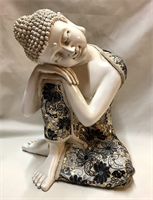 RESIN THAI REST BUDDHA WITH CLOTHES 28X25CM