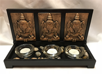Ganesha Candle holder 28x16x11cm Material: Wood Resin Glass & Small Stone