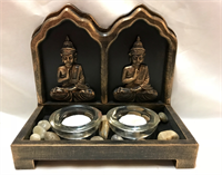Buddha Candle holder 19.5x10.5x17cm Material: Wood Resin Glass & Small Stone