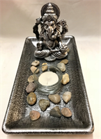 GANESHA CANDLE HOLDER 22.5x12x12CM  MATERIAL : RESIN WOOD STONE GLASS
