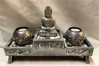 Silver resin Buddha Buddha wooden candle holder with sand and stone