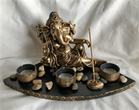 GANESHA CANDLE HOLDER 32x21x16CM MATERIAL : RESIN, WOOD ,STONE ,